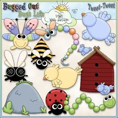 Clip Art and Digital Stamps Download with 13 Color Images and 13 Black and White Images with a white fill (as shown in the preview). All images are high quality 300 dpi for beautiful printing results.Formats: transparent PNG and non-transparent JPGIncludes: 1 butterfly, 1 dragonfly, 1 bee, 1 fly, 1 ladybug, 1 rock with a caterpillar, 1 inch worm, 1 birdhouse with 2 blue birds, 1 blue bird, 1 yellow bird, 1 word art of: BUGGED OUT, 1 word art of: BUG'S LIFE, 1 word art of: TWEET-TWEET.Leah…