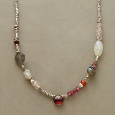 GARNETS AND MORE NECKLACE�--�Fiery garnets are a blaze of red amidst labradorites, moonstones and pink quartz. Handmade in USA with sterling and Thai silver beads. Lobster clasp