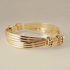 Bracelets 98480: 14/20 Yellow Gold Filled 4 Knot 6 Strand Elephant Hair Style Safari Bracelet BUY IT NOW ONLY: $155.0