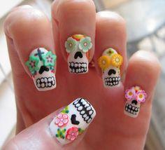 Sugar Skull Nail Art Tutorial for Halloween