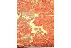 """French Toile du Jouy wallpaper with a complex 18th-century scene with lovers, a mill, a farmhouse, lambs and trees. Partial roll of vintage wallpaper, 40""""H x 22""""W. Classic red and off-white coloration. Maker's title in selvage: """"Impressions du Landy Le Printemps d'apres Boucher."""""""
