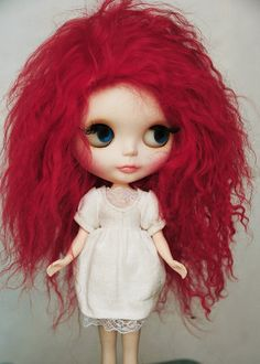 Long Red Tibetan Mohair Wavy Wig for Blythe Elastic by natrume, $38.90