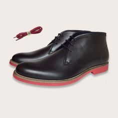 Lace Up Black Leather Chukka Ankle Boots with Red Soles - Brompton | Coogan London  www.cooganlondon.com