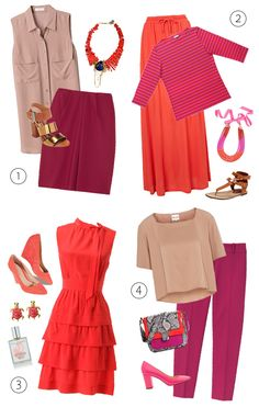 Four wine-inspired outfits.