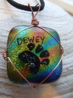 Cremation Ash Infused Paw Print Keepsake Pendant by infusionglass, $150.00