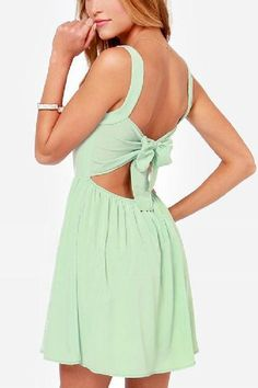 Back Bowknot V-neck Sleeveless Dress