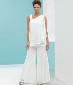 Beautiful Plus Size Mother of The Bride Pant Suits - Elegant white two piece mother of the bride plus size flowy pant suit with asymmetric neckline top by Stacy Adams (click on image to buy)