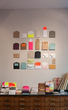 luiban ⎮ berlin store  Envelopes as organizational device. Love it.