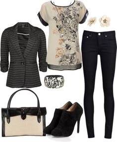 """""""Dress in Comfort with Black & Cream"""" by heather-rolin ❤ liked on Polyvore"""