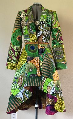 Emerald African Patchwork Reversible Coat Dress With Pockets and Tie Belt Pick Available Reverse Print (reverse print shown not available) African Fashion Ankara, Latest African Fashion Dresses, African Print Dresses, African Print Fashion, Africa Fashion, African Dress, African Attire, African Wear, Mode Batik