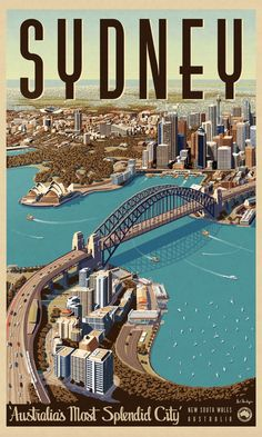 sydney retro poster - Google Search