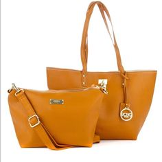 """❗️New❗️2 PC Bundle BCBGParis Camel Lock Tote Authentic-New with tags-Retails:$168-Color: Camel/Beige-TOTE measures:12"""" (w) x 12"""" (h) x 3.5"""" (d)-11"""" arm strap drop-Reversible gold lock for center closure-gold lock hardware-BCBG Paris & key faux leather purse fob-faux leather-2 interior slip in pockets-CROSSBODY: 9.5"""" (w) x 8.5"""" (h) x 4"""" (d)-gold hardware-1 interior zipper pocket-2 interior slip in pockets-50"""" (shoulder strap) BCBGParis Bags Totes"""
