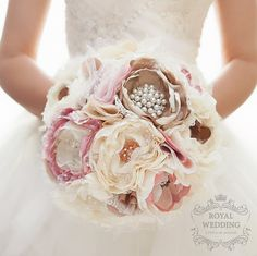 Fabric Brooch Bouquet Fabric Flower Bouquet Bridal Bouquet Wedding Bouquet Light Pink/Blush and Off White/Ivory Fabric Wedding Bouquet