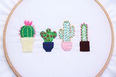Cactus embroidery diy bordados a mano bordar cactus embroide Embroidered Cactus, Cactus Embroidery, Hand Embroidery Patterns, Diy Embroidery, Embroidery Stitches, Embroidery Designs, Diy Bordados, Pach Aplique, String Crafts