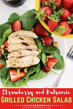 Strawberry and Balsamic Grilled Chicken Salad ~ Fresh, Flavorful Salad Recipe Loaded with Spinach, Strawberries and Chicken Marinated in Balsamic Dressing! Balsamic Grilled Chicken, Marinated Chicken, Chicken Marinate, Taco Salad Recipes, Healthy Salad Recipes, Healthy Meals, Side Dishes Easy, Side Dish Recipes, Dinner Recipes