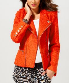 Look what I found on #zulily! Orange Zip-Up Wool-Blend Jacket - Women by Luii #zulilyfinds