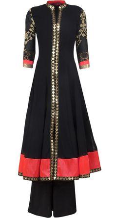 Black sherwani style anarkali set by OHAILA KHAN via Pernia's Pop Up Shop. A classic trousseau piece. I'd wear it with a black churidar though.: