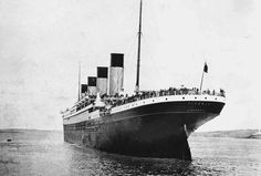 This stern view of the Titanic was taken as the ship came came to a stop having dropped anchor.