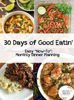 30 Days of Good Eatin' | Guide to planning meals monthly| Creatively Homespun