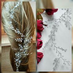 Cabello largo de la vid, vid de pelo nupcial, cristales nupcial boda, diadema, romántico, peluca novia pelo vid, boda cabello-vid, vid perlas pelo 13