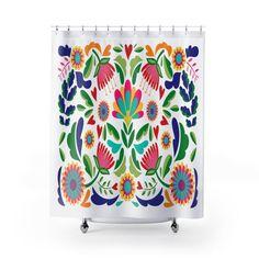 Mexican shower curtain Bathroom art Bohemian Art Bath | Etsy Geometric Deer, Blue Shower Curtains, Bohemian Art, Beach House Decor, Home Decor, Pretty Designs, Bathroom Art, Custom Canvas, Frida Kahlo
