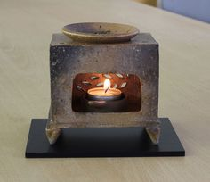 Raku Pottery, Ceramic Oil Diffuser, Ceramic Lamps, Stove Oven, Black Clay, Oil Burners, Candle Holders, Workshop, Candles