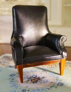 1//12 Dollhouse Office Sofa Chair Set 3 Pcs High Quality Excellent Black Leather