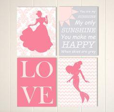 Princess nursery, mermaid nursery art, baby girl nursery art, you are my sunshine, set of 4 nursery prints by PicabooArtStudio