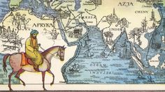 Explorer Ibn Battuta on horseback. Behind him, a map of his journey. (Credit: INTERFOTO/Alamy Stock Photo)