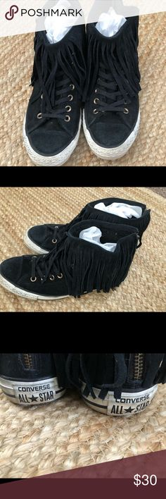 Converse Chuck Taylor High Tops with fringe Super comfy high tops with  fringe. Used but in great condition Converse Shoes Sneakers dae974b4c3417