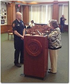 Mayor Lucinda Fess (Right) Presents Police Week Proclamation to Officer Christopher Yingst Rodney King, The Man, Police, Presents, Memories, This Or That Questions, Board, Gifts, Memoirs