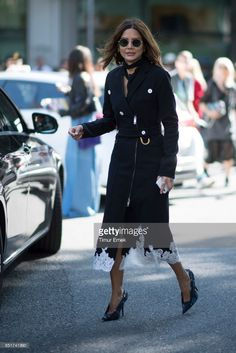 Christine Centenera seen before the Armani fashion show during Milan Fashion Week Spring/Summer 2018 on September 22, 2017 in Milan, Italy.