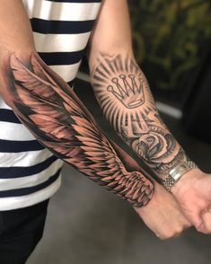 Stay Hungry Wing Tattoo The Effective Pictures We Offer You Ab Tattoos Arm Mann, Forarm Tattoos, Dope Tattoos, Tribal Tattoos, Hand Tattoos, Tatoos, Forearm Wing Tattoo, Forearm Sleeve Tattoos, Best Sleeve Tattoos