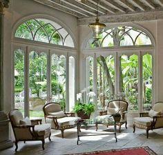 ~ Design Luv ~ — Home of Nancy HougetLong Island NY Interior. Patio Interior, Interior And Exterior, Style At Home, Beautiful Interiors, Beautiful Homes, Salas Lounge, Sunroom Windows, Big Windows, Ceiling Windows