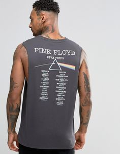 ca8ce986c6ed7 ASOS Pink Floyd Sleeveless T-Shirt With Dropped Armhole Pink Floyd T Shirt