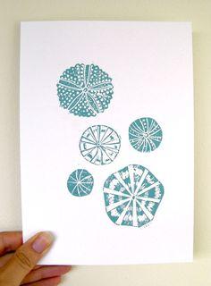 Urchin Linocut Handmade Print  Etsy Seller ChantalVincent $20    Loves!!