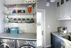 Laundry room with open shelving and subway tile - Decoist