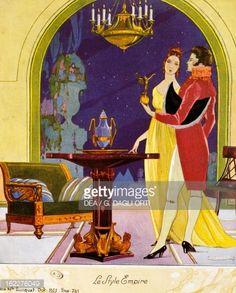 Empire style scene, theatrical setting, watercolor, 1922 by Umberto Brunelleschi b: 6/21/1879 Montemurlo - 2/16/49 Paris