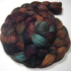 Merino & tussah silk roving 4.6 oz Ocean by WonderlandDyeworks, $27.60