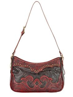 Hand Tooled Leather Concealed Carry Weapon CCW Gun Purse Handbag by American West - Crimson / Chocolate $227.99 + Free Shipping! wantedwardrobe.net wantedwardrobe.com #handbags #CCW #fashion #western