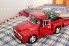 Christmas decorating with toy truck and children's Christmas books Christmas Red Truck, Christmas Tree Farm, Winter Christmas, Vintage Christmas, Christmas 2019, Christmas Ideas, Holiday Ideas, Christmas Tablescapes, Christmas Decorations