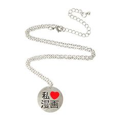 LOVEsick I (Heart) Manga Necklace | Hot Topic ($15) ❤ liked on Polyvore featuring jewelry, necklaces, heart shaped necklace, heart necklace, heart shaped jewelry, heart jewelry and silver tone necklace
