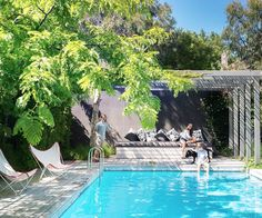 A Melbourne family have transformed the backyard of their home before saving up the funds to renovate their home. See how making a garden top priority in the reinvention of their home has paid off. Backyard Pool Landscaping, Backyard Pool Designs, Backyard Pergola, Swimming Pool Designs, Garden Pool, Swimming Pools, Pool Fence, Pergola Ideas, Pool Gazebo