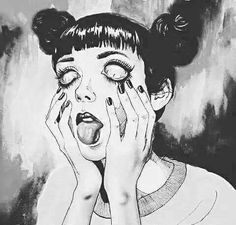 Miracles don't happen here... I do not owe this image #miracles #sadquotes #tumblr #bnw #貢 #うれしい #aesthetictumblr #aesthetic #black #white #buns #eyes #nails #tongue #vaporwavetumblr #blackaesthetic #cry #lost #sadness #loneliness #sad #depressed #girls #image #drawing #makeup #eyelashes #die