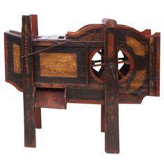 19th Century (Early 1800s) Wooden Chinese Rice Thresher with Painted Scenes HEIGHT:4 ft. 8.5 in. (144 cm) WIDTH:4 ft. 11 in. (150 cm) DEPTH:20.5 in. (52 cm)