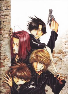 I FREAKING LOVE this picture. It cracks me up that Hakkai is the only one smiling, but he's the only one with a legit weapon, haha! And of course, Sanzo's expression is the best. Him and his fan, lol, I ship it! XD <3 - Saiyuki