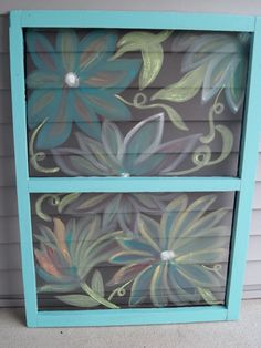 painted window screen for over the window unit. Also, maybe shutters over the box frame. Painted Window Screens, Window Screen Crafts, Old Window Screens, Window Art, Window Ideas, Painting On Screens, Window Panes, Antique Windows, Old Windows
