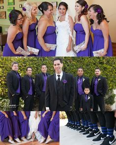 Catholic Church Wedding Ceremony ~ Huntington Beach ~ Turnip Rose Celebrations Reception, Newport Beach Wedding, Newborn, and Family Portraits, Photographers in Orange County, Bridesmaid Dresses, Long, Strapless, Purple, Chiffon with Pleated Bodice Style, Outfits, Fashion, Ideas, Color, Themes, Silver, Groomsmen, Tux, Funky Stripped Socks, Glittery Toms, Nike SBs, GilmoreStudios.com