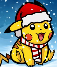 Pikachu dans une chaussette de noël. | Pikachu mignon ...