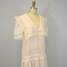 Vintage Jessica Mcclintock Dress Pastel Pink 1980s Gauze And Lace